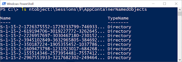"""Listing the AppContainerNamedObjects directory with """"ls ntobject:\Sessions\9\AppContainerNamedObjects""""."""