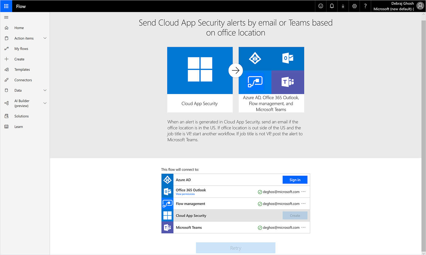 Screenshot of the Flow template using the management connecter, Azure AD, Cloud App Security, Outlook, and Teams.