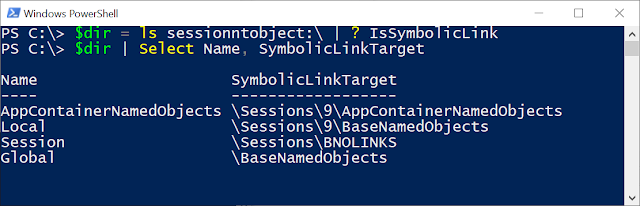 """Listing SessionNtObject:\ directory in PowerShell and selecting out symbolic links with the filter """"? IsSymbolicLink""""."""