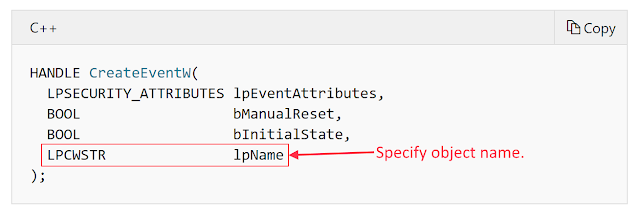 Screenshot showing CreateEventW prototype with an lpName parameter which specifies the object name.